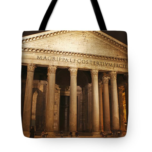 Night Lights Of The Pantheon In Piazza Tote Bag by Trish Punch