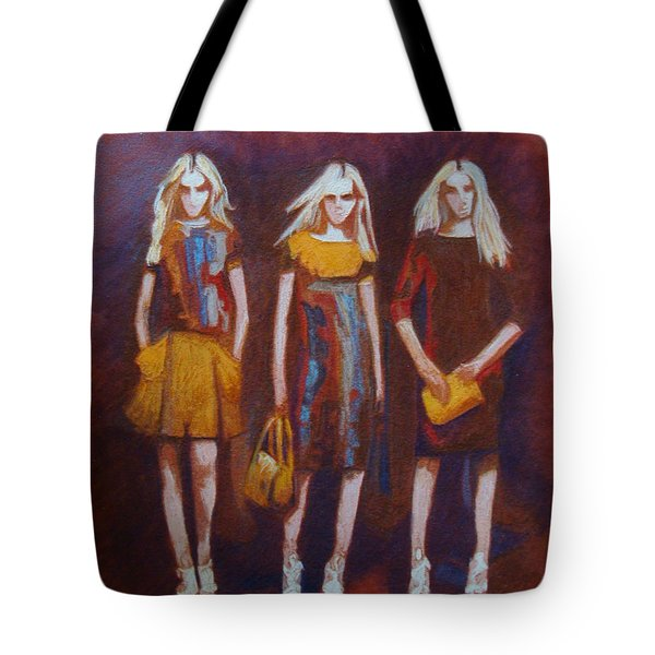 Tote Bag featuring the painting On The Catwalk by Phyllis Howard