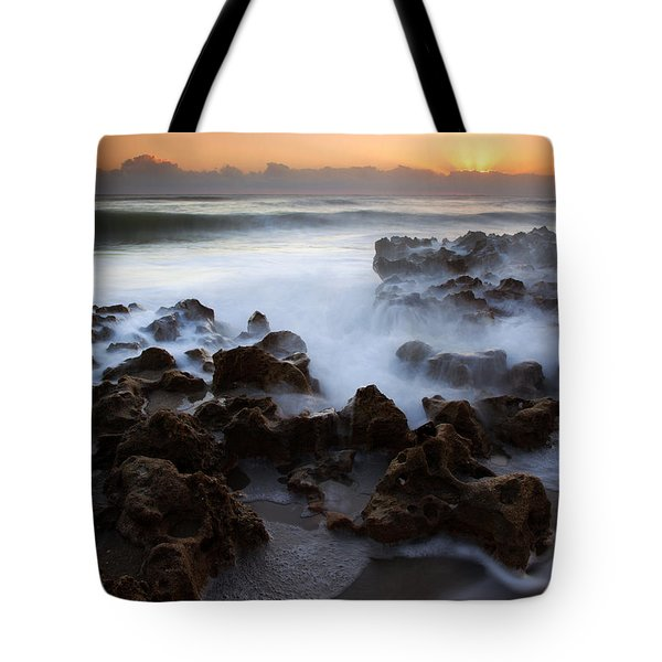 Overwhelmed By The Sea Tote Bag by Mike  Dawson