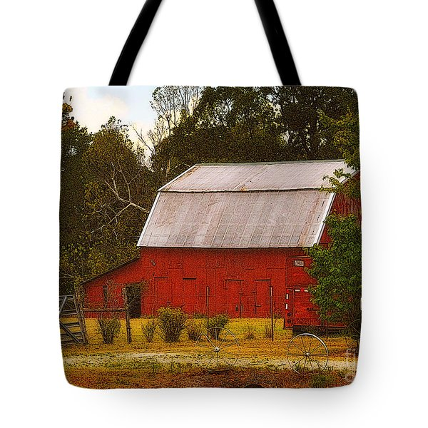 Tote Bag featuring the photograph Ozark Red Barn by Lydia Holly