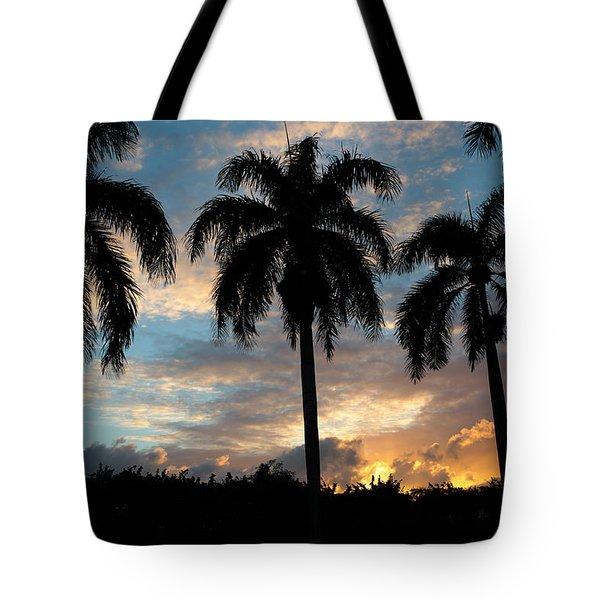 Palm Tree Silhouette Tote Bag by Karen Lee Ensley
