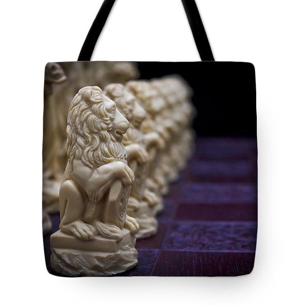 Pawns In A Row Tote Bag by Doug Long