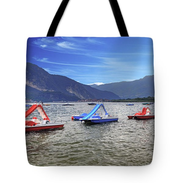 Pedal Boats On Lake Maggiore Tote Bag
