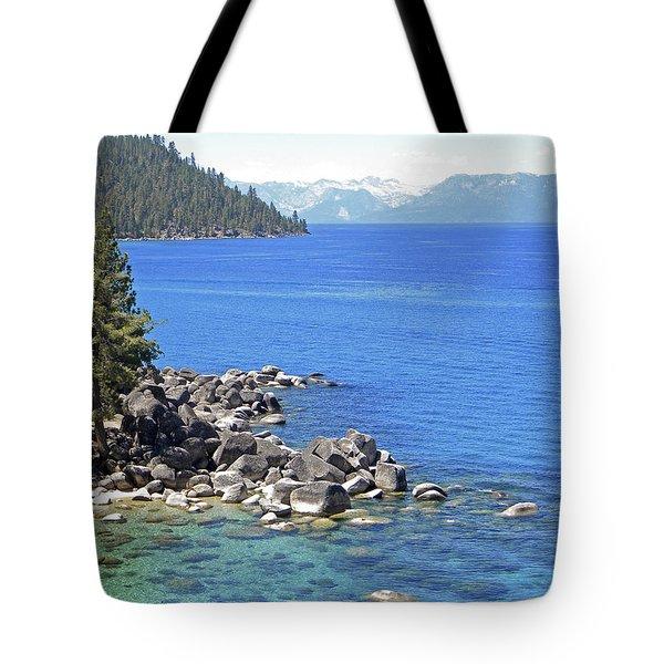 Pines Boulders And Crystal Waters Of Lake Tahoe Tote Bag by Frank Wilson