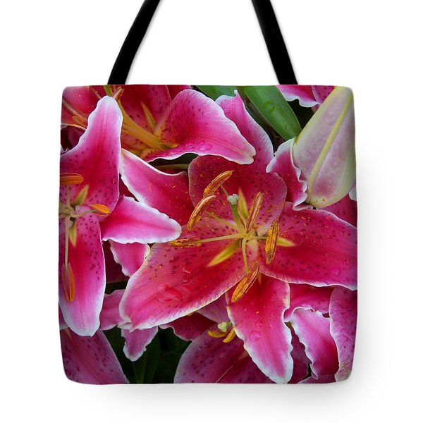 Pink Lilies With Water Droplets Tote Bag