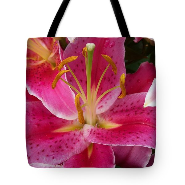 Pink Lily With Water Droplets Tote Bag