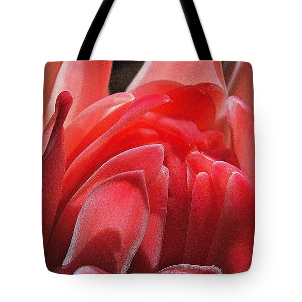 Pink Torch Ginger Tote Bag by Jocelyn Kahawai