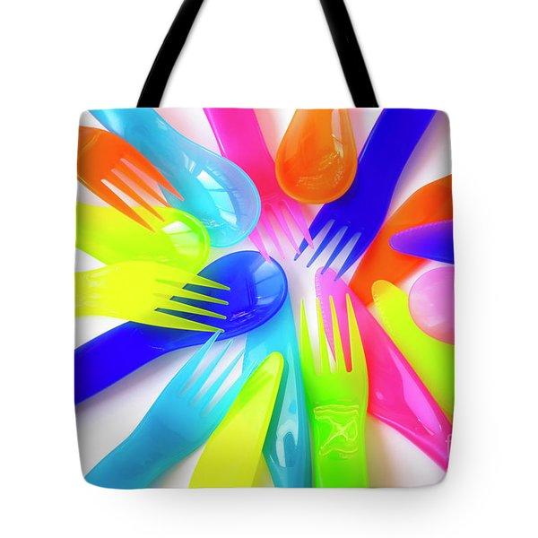 Plastic Cutlery Tote Bag by Carlos Caetano