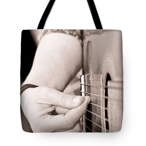 Playing Guitar Tote Bag by Tom Gowanlock