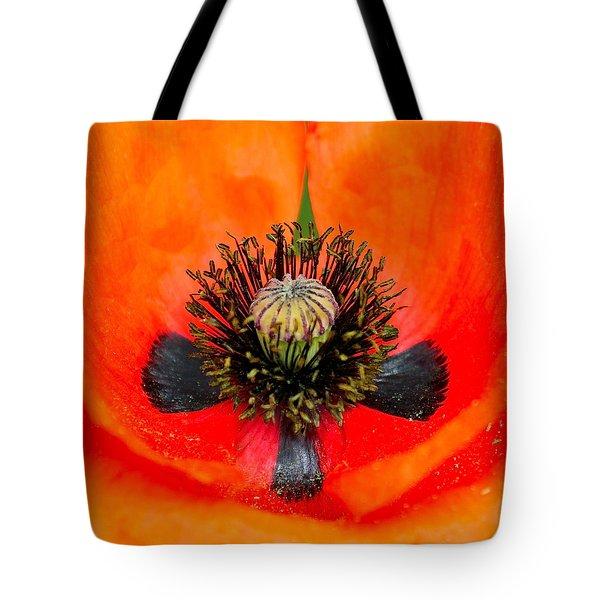 Poppy Heart Tote Bag by Karon Melillo DeVega
