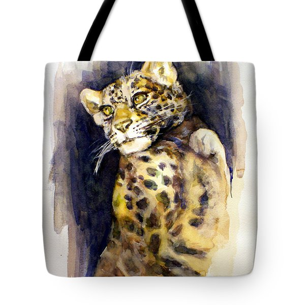 Portrait Of A Young Snow Leopard Tote Bag