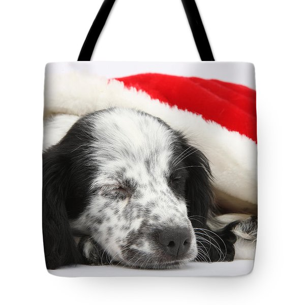 Puppy Sleeping In Christmas Hat Tote Bag by Mark Taylor
