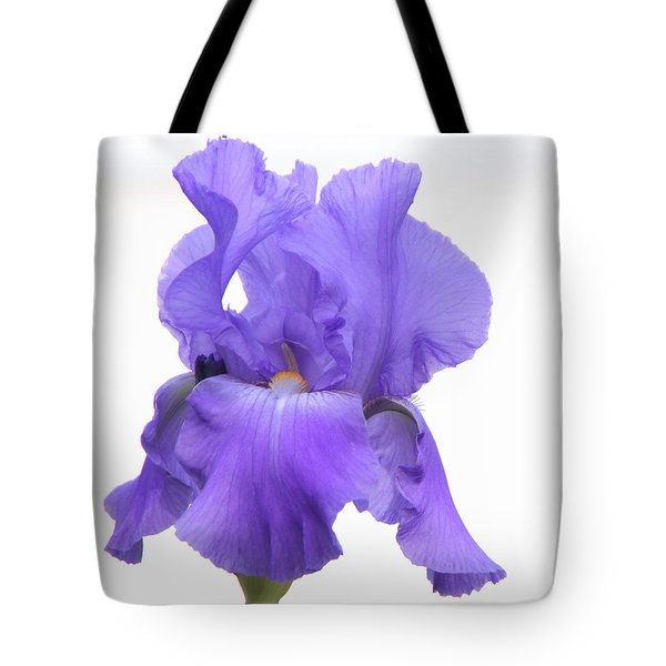 Purple Iris On White Tote Bag