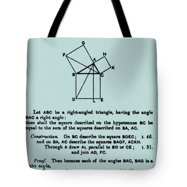 Pythagorean Theorem In English Tote Bag by Science Source