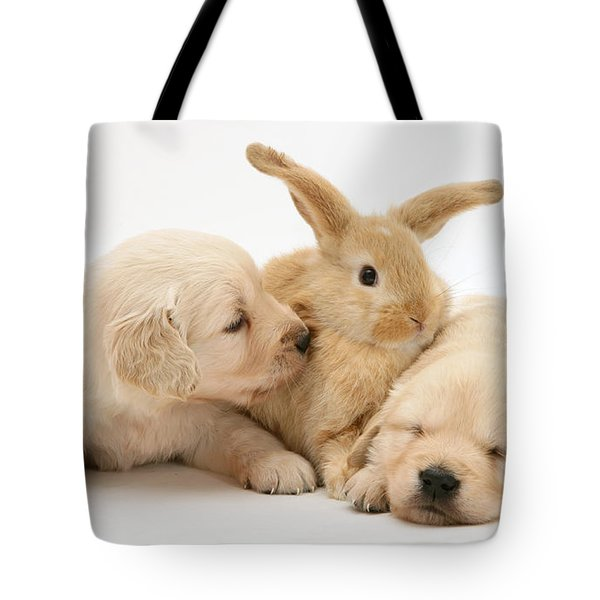 Rabbit And Puppies Tote Bag by Jane Burton