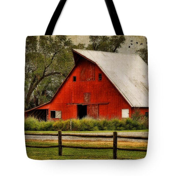 Red Barn Tote Bag by Joan Bertucci