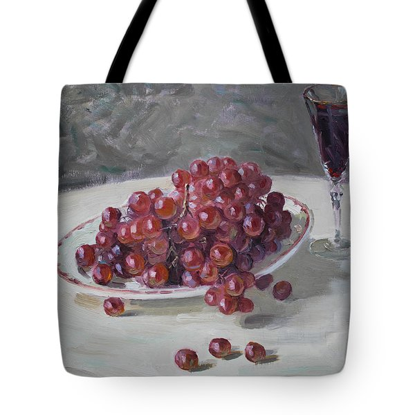 Red Grapes Tote Bag by Ylli Haruni