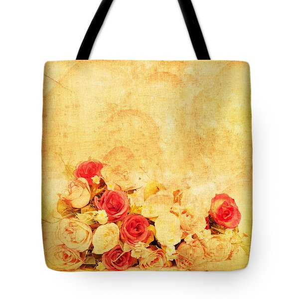 Retro Flower Pattern Tote Bag by Setsiri Silapasuwanchai