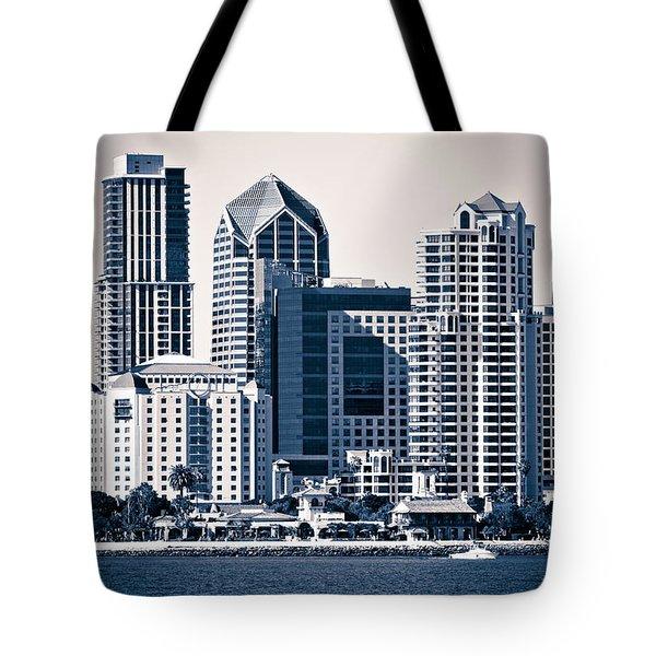 San Diego Skyline Tote Bag by Paul Velgos