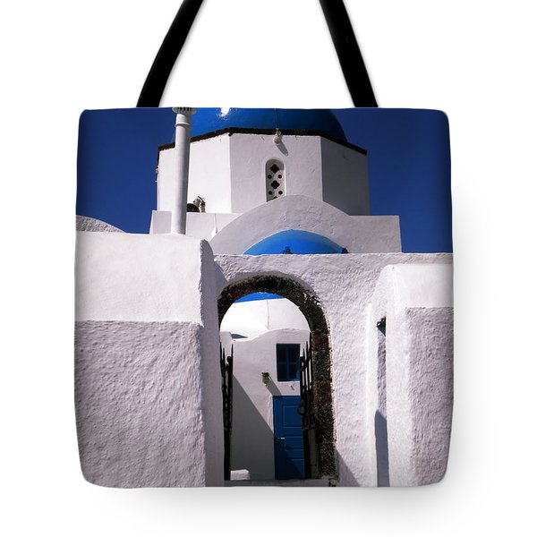 Tote Bag featuring the photograph Santorini Church Greece by Colette V Hera  Guggenheim