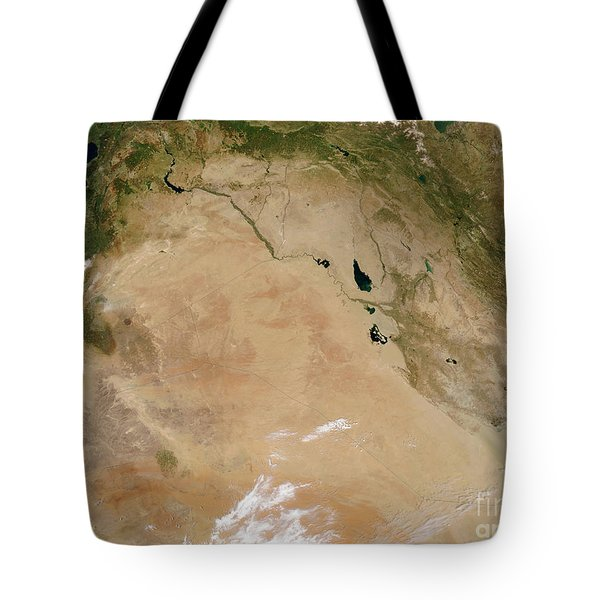 Satellite View Of The Middle East Tote Bag by Stocktrek Images