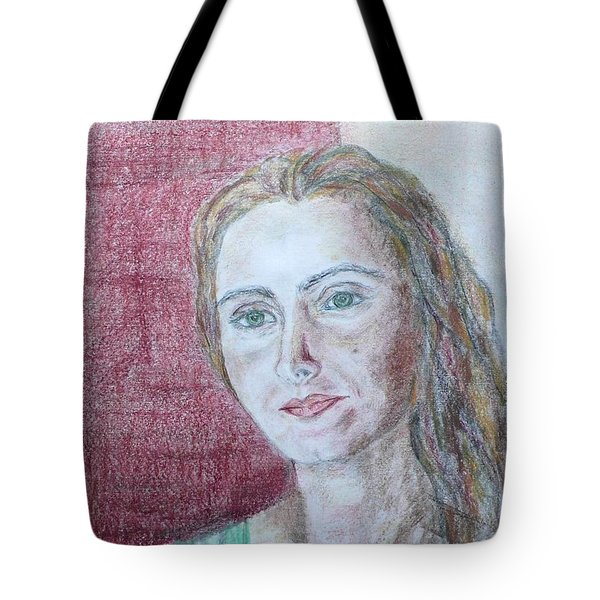 Tote Bag featuring the drawing Self Portrait by Anna Ruzsan