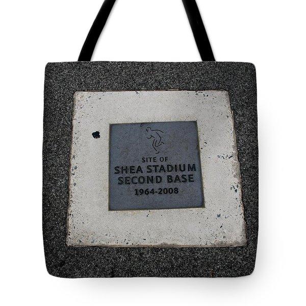 Shea Stadium Second Base Tote Bag by Rob Hans