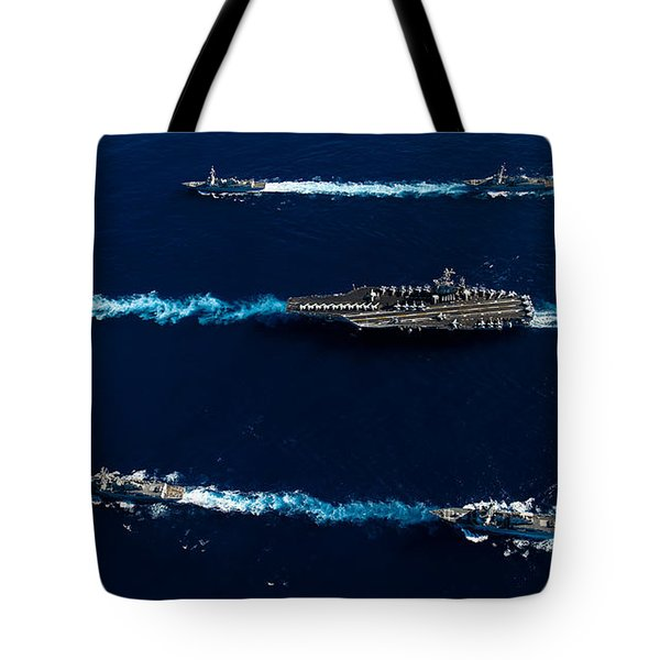 Ships From The John C. Stennis Carrier Tote Bag by Stocktrek Images