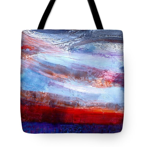 Tote Bag featuring the mixed media Sunset Sky by Walter Fahmy
