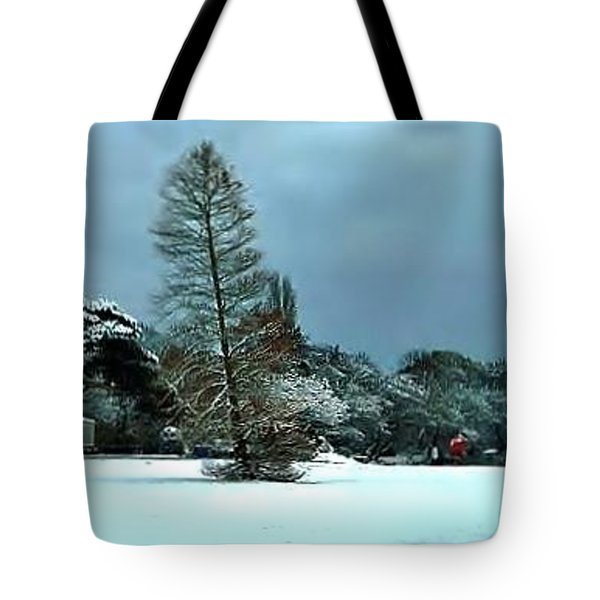Tote Bag featuring the photograph Snow In Poole Park by Katy Mei