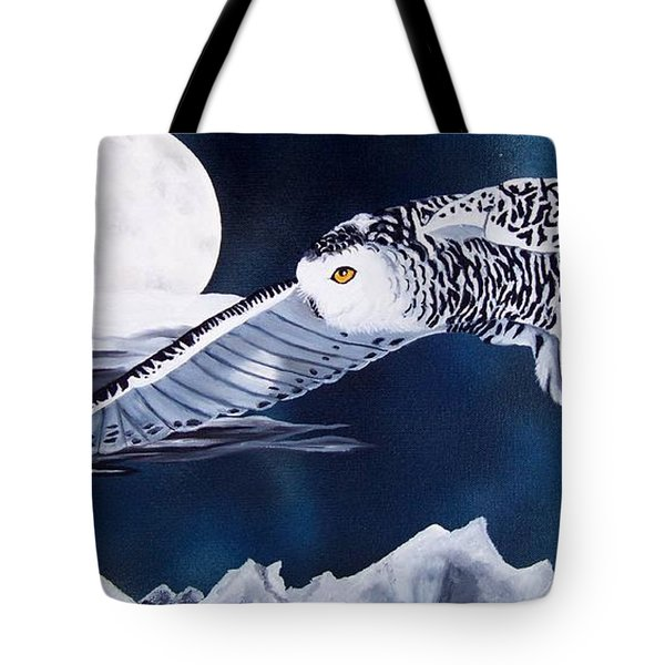 Snowy Flight Tote Bag by Debbie LaFrance