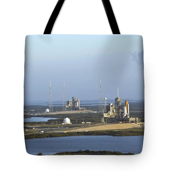Space Shuttle Atlantis And Endeavour Tote Bag by Stocktrek Images