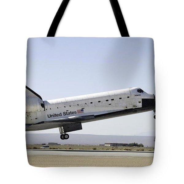 Space Shuttle Atlantis Prepares Tote Bag by Stocktrek Images
