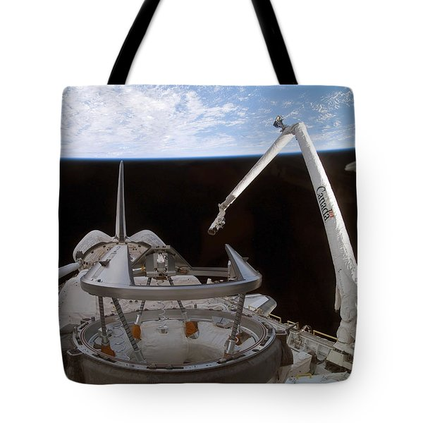 Space Shuttle Discoverys Payload Bay Tote Bag by Stocktrek Images
