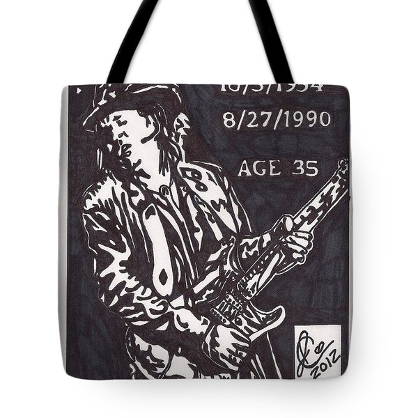 Tote Bag featuring the drawing Stevie Ray Vaughn by Jeremiah Colley