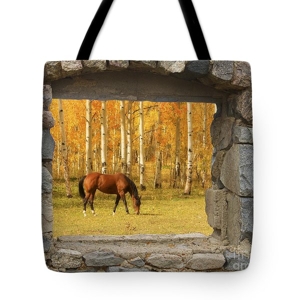 Stone Window View And Beautiful Horse Tote Bag by James BO  Insogna