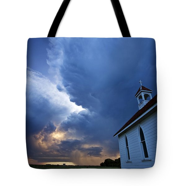 Storm Clouds Over Saskatchewan Country Church Tote Bag by Mark Duffy