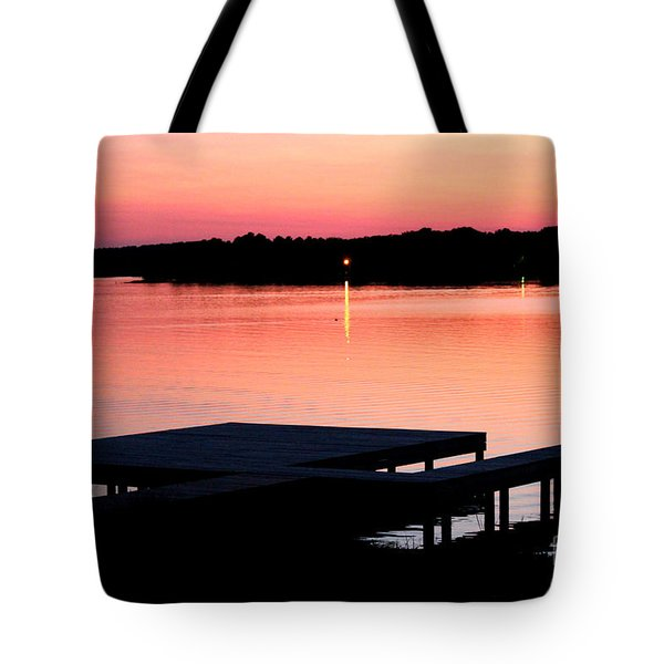 Tote Bag featuring the photograph Sunset View From Dockside by Kathy  White