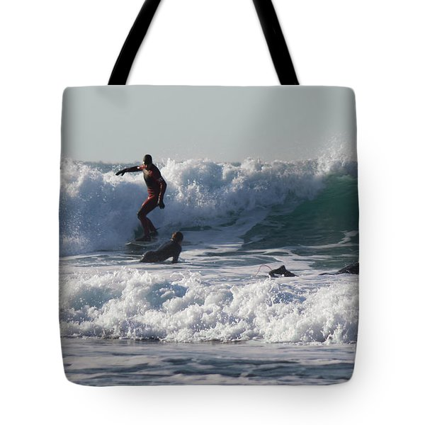 Surfers At Porthtowan Cornwall Tote Bag by Brian Roscorla