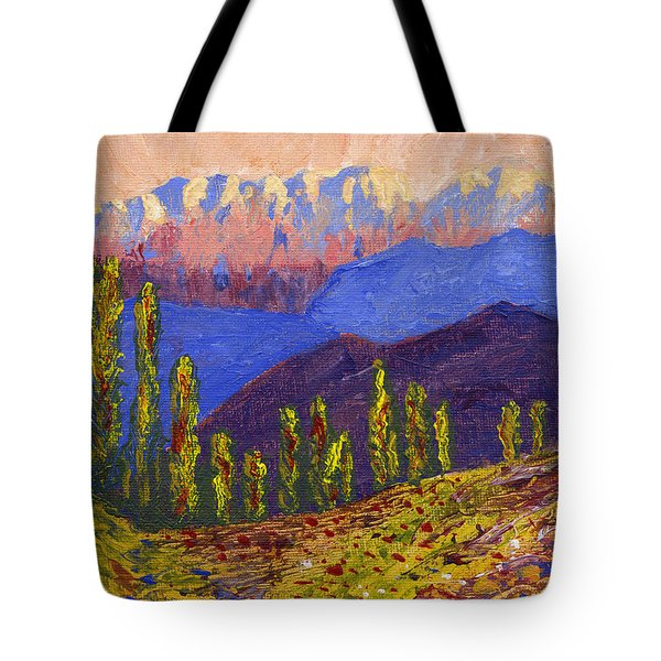 Swiss Alps Impasto Tote Bag by Edward McNaught-Davis