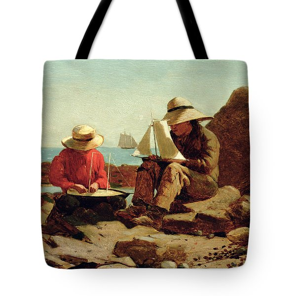 The Boat Builders Tote Bag by Winslow Homer