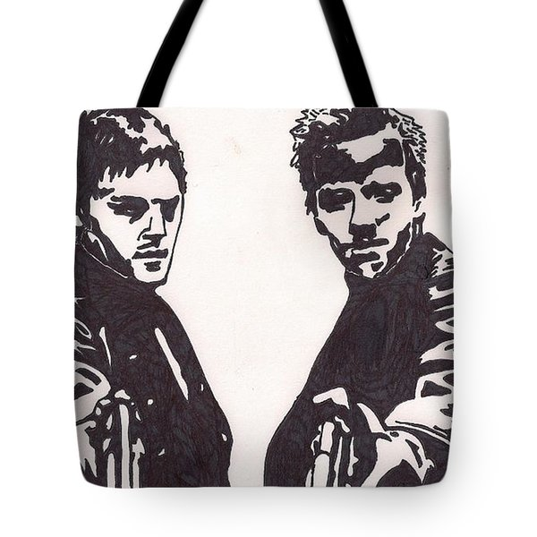 Tote Bag featuring the drawing The Boondock Saints by Jeremiah Colley