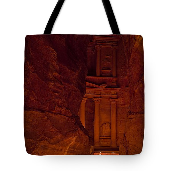 The Famous Treasury Lit Up At Night Tote Bag by Taylor S. Kennedy