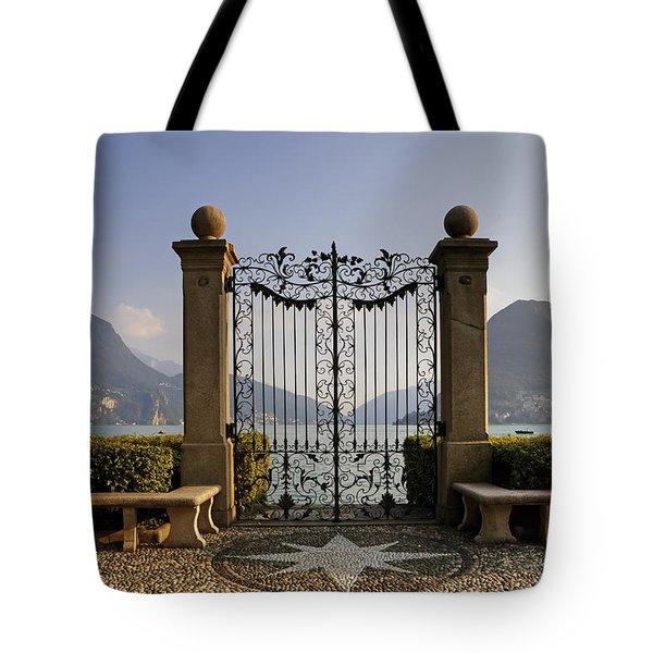 The Gateway To Lago Di Lugano Tote Bag by Joana Kruse