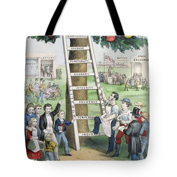 The Ladder Of Fortune Tote Bag by Currier and Ives