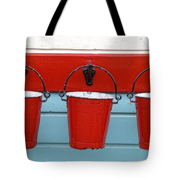 Three Red Buckets Tote Bag