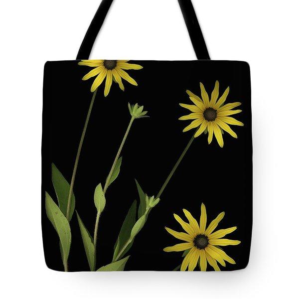Three Yellow Flowers Tote Bag by Deddeda