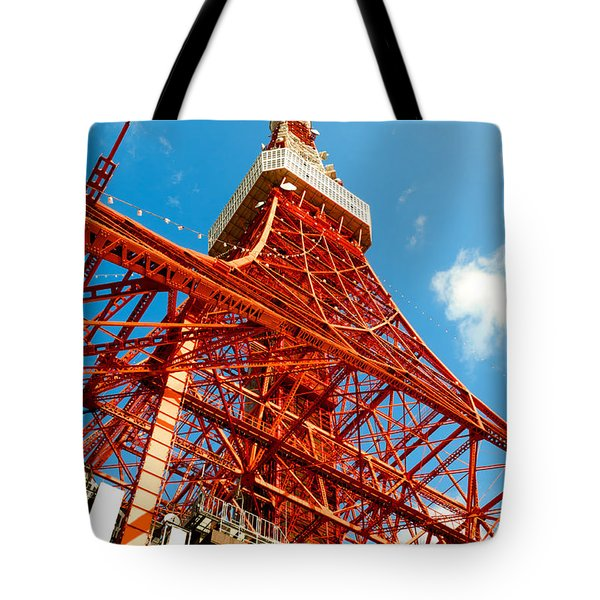 Tokyo Tower Face Cloudy Sky Tote Bag by Ulrich Schade