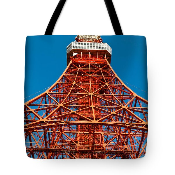 Tokyo Tower Faces Blue Sky Tote Bag by U Schade