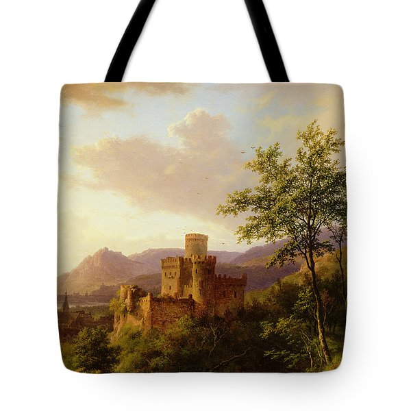 Travellers On A Path In An Extensive Rhineland Landscape Tote Bag by Barend Cornelis Koekkoek